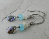 Boulder Opal, Amazonite, Aquamarine and Silverite Gemstone Dangle Earrings