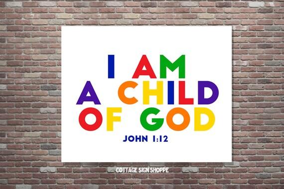 Christian Wall Art, John 1:12, Children's Scripture Art,Kid's Bible Verse, I Am A Child Of God,DOWNLOAD,Bible Study Art, Kids Room Art