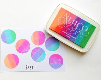 pastel nijico ink pad. multi colored rainbow rubber stamp ink pad. water based archival pigment paper ink. embossing. scrapbooking