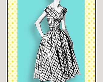 Vintage 1950s-STUNNING PARTY DRESS-Sewing Pattern-Two Styles-Daring Low V Front & Back-Fitted Basque Bodice-Full Twirl Skirt-Size16-Rare