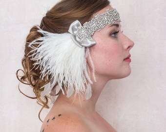 Diamonds And Ice Ostrich Feather Headband For Bridal, Wedding, Rhinestone Headband, Gatsby Headband