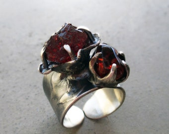Magical Fairy Tale Ring with Spessartine Garnet and Citrine, Dark Fiery Red, Fantasy, Base, Sacral, and Solar Plexus Chakra, Sun Power