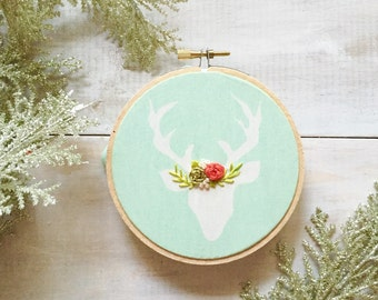 Modern Christmas Ornament, First Christmas Ornament, Mint and Coral, Deer Ornament, embroidered ornament, Personalized Christmas Ornament