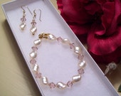 Satin Twisted Pearl & Crystal Bracelet and Earrings
