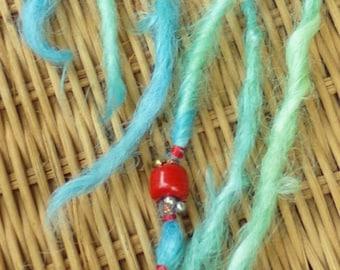 Suri Alpaca Accent Dread Locks for Dolls Blue Green Coral 12 inches long