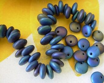 Reduced- 6mm Czech Lentil Glass Beads- Matte Blue Iris (50)
