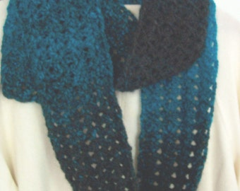Handmade Crocheted Fashion Scarf in charcoal and aqua  colors  90 inches long acrylic and wool blend  Adds a fashion touch  Great gift.