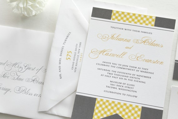 Yellow And Gray Wedding Invitations Yellow Gingham Script Font Romantic Invitations Linen