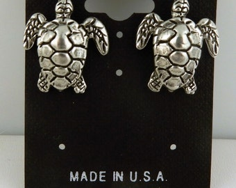 Vintage pewter or gold Sea Turtle stud earrings with surgical steel post