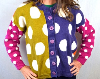Vintage 80s Fun Polka Dot Cardigan Sweater - Express Tricot