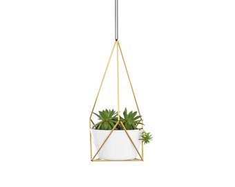 LOTUS | Geometric Terrarium Planter No.1 | Small Modern Hanging Planter | Himmeli