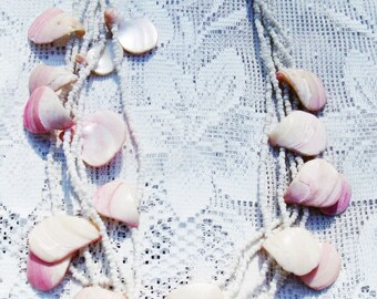 CLEARANCE SALE - Vintage Pink and White Shell Multistrand Necklace (N-1-2)