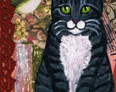 Grey Striped Tabby Cat Original Mixed Media ACEO Collage One of a Kind Miniature Art