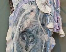Nuno Felted Shawl Wolf Shawl Hand Painted Shawl Silk Painted Scarf Custom Order