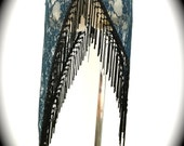 The Teal Blue Lace Asymmetrical Willow Skirt with Long Black Fringe Trim (Adjustable, sizes XS- XL)