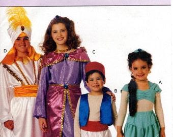 1990s Kids Aladdin & Jasmine Costume Pattern - Vintage Butterick 3049 - Halloween Costume Arabian Nights Harem Pants