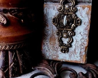 ANTIQUE Rustic Wall Hook Decor Farmhouse Shabby Rustic Bronze Blue Prim Industrial chic French Crown Ornate Hardware  OOAK Salvage Art