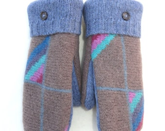 Wool Mittens from Recycled and Felted Sweaters Fleece Lined Mismatched Slate with Baby Blue and Multi-Colored Stripes