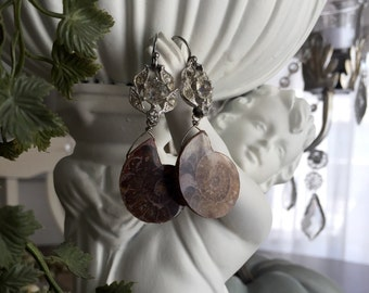 fossils - vintage assemblage earrings rhinestones ammonite boho bohemian rustic gypsy tribal art deco dangle drop, by the french circus