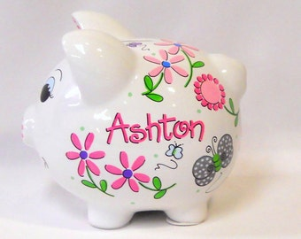 Daisy Flowers and Butterflies in Pinks and Gray Personalized Piggy Bank