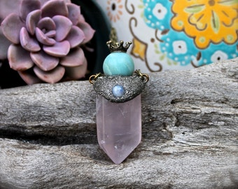 Crowned Crystal Necklace - Rose Quartz Jewelry - Moonstone & Amazonite Necklace - Wiccan Jewelry - Pink Necklace - Boho Chic Crystal Jewelry