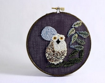 Owl with Full Moon Eco Friendly Punch Needle Embroidery Hoop Art. 5 Inch Embroidery Hoop. Bird, Woodland. Grey, Cream, Green Ready to Ship!