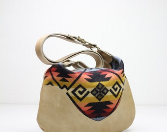 Indian Blanket Bag, Cream Leather Bag, Leather Cross Body, Leather Purse, Tribal Bag, Wool and Leather Bag, Navajo Style Bag, Hobo Bag
