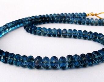 Blue Topaz Necklace, London Blue Topaz Necklace, 18k Gold London Blue Topaz Necklace