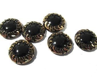 Black Glass Shankless Buttons West Germany VINTAGE Black Gold Luster Buttons Six (6) Vintage Buttons Jewelry Sewing Supplies (F99)