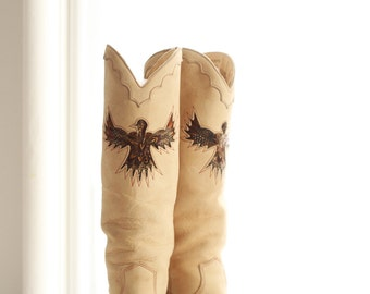Vintage Zodiac Thunderbird Boots - Size 6 1/2 - Feather Inlay