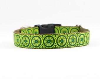 "Green Circle Dog Collar, Green Dog Collar, Retro Dog Collar, Flower Dog Collar, 1"" Wide, Buckle Collar or Martingale"
