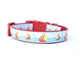 """Nautical Dog Collar, Sailboat Dog Collar, Buckle Collar, 3/4"""" Collar, Sale"""