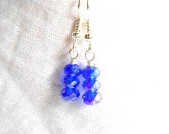 Blue Earrings Crystal Earrings Multi Stack Earrings Bright Silver Earrings Surgical Steel Hooks Option French Hooks Beaded Earrings