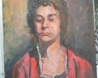 Vintage MID-CENTURY Impressionist Woman in RED Dress Oil Portrait painting c1960s