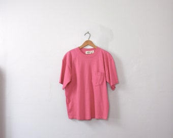Vintage 80's fuchsia pink tee with pocket, pink shirt, size medium