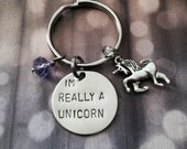 I'm Really A Unicorn - Keychain, Necklace, Charms, Rainbow, Unicorn, Gift, Girly, Geek