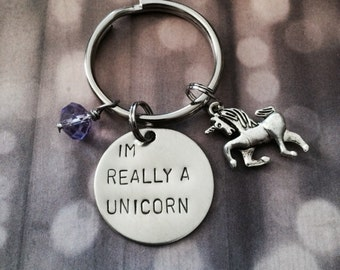 I'm Really A Unicorn - Keychain, Necklace, Charms, Rainbow, Unicorn, Gift, Girly, Geek, Unicorn Keychain