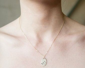 Mountain Range Necklace- Oval / We are made to conquer mountains