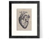 Anatomical Heart over Vintage Medical Book Page - Graduation GIft, Doctor Gift, Nurse Gift, Cardiologist Gift, Valentine