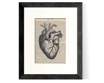 Anatomical Heart over Vintage Medical Book Page - Graduation GIft, Doctor Gift, Nurse Gift, Cardiologist Gift, Medical Office Decor