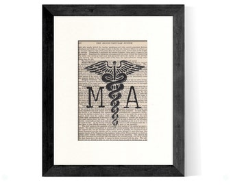 MA Medical Assistant Caduceus over Vintage Medical Book Page - MA Gift, MA Graduation Gift,  Medical Assistant Gift