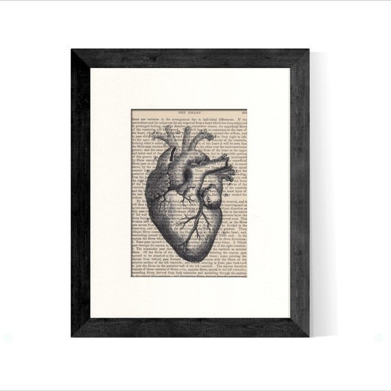 Anatomical Heart over Vintage Medical Book Page - Graduation GIft, Doctor Gift, Nurse Gift, Cardiologist Gift, Medical Office Decor