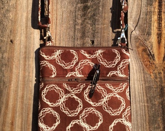 Small Cross Body Bag Purse, Sling Bag, Hip Bag Zipper Closure -  Brown and White Geometric