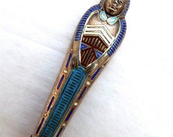 Egyptian Revival Jewelry, Vintage Sterling Silver Mummy Pendant on Chain, Mummy, Pharaoh, Free Shipping USA