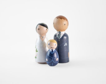 Peg Family Topper - bride and groom with son - peg family wedding cake topper - wedding cake topper family of 3 - family cake topper
