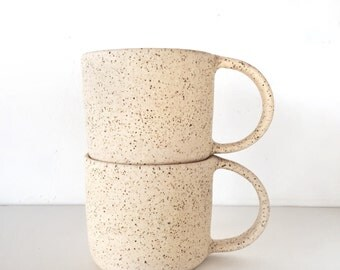 Vintage inspired gift Coffee cup mug -  cappuccino mug ceramic in cream matte speckled latte