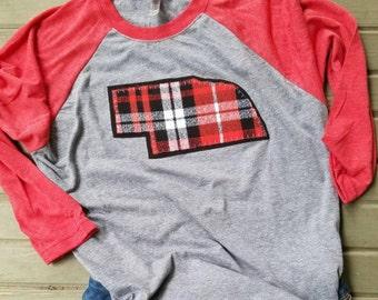 Nebraska state outline, women shirt