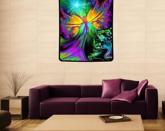 "Angel Tapestry, Chakra Art, Reiki Meditation Yoga Room Decor ""From Dark to Light"" 40"" x 50"""