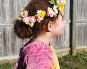 Flower crown in pinks and yellows.  Perfect for fairy festivals, weddings, dress up or prom!