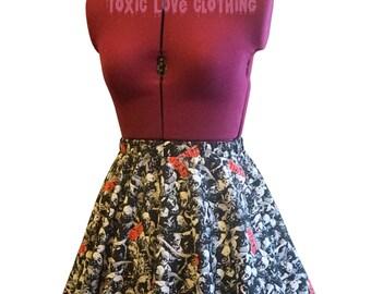 Walking Dead Circle Skirt (womens size 4 - 22) MINI or MIDI length - TWD fandom, plus size, mini skater skirt, midi, zombies, nerdy clothing